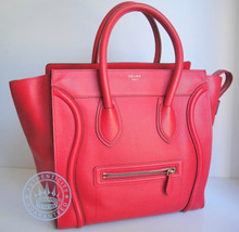 Celine Medium Luggage  Tote Bag, in Red Leather