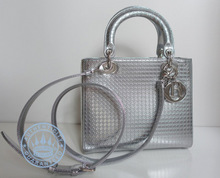 Dior Lady  in Silver  Handbag, -tone metallic calfskin with micro-cannage