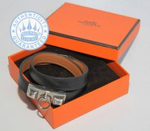 Hermes RIVALE DOUBLE BRACELET,  VEAU TADELAKT LEATHER BLACK SILVER