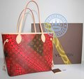 Louis Vuitton Yayoi Kusama Handbag, Neverfull MM  Red Monogram